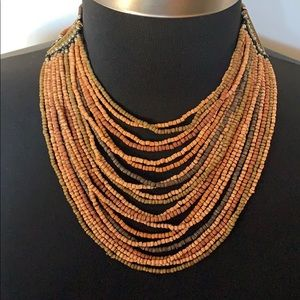 Vintage Multi-Colored Brown Beaded Necklace